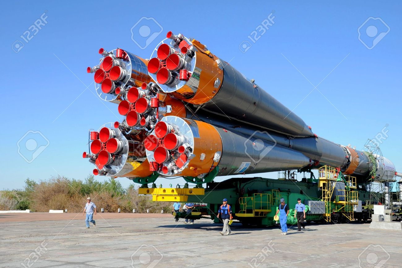 DownUnder 7298286-Russian-Progress-rocket-is-arriving-at-the-launch-pad-at-Baikonur-cosmodrome-in-Kazakhstan-on-the-28-Stock-Photo