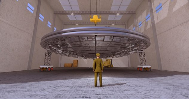 Greer's Greatest Man in hanger with UFO ( httplistverse.com2018012410-supposed-secret-space-program-insiders ) iStock-177708187