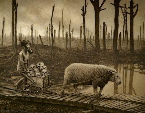 Photos Extra Sheep and Cart ( httpsdangerousminds.netcommentsunsettling_paintings_capture_grim_post_apocalyptic_future ) sheepskullsgasmaskasldkjalsdkjf_465_364_int