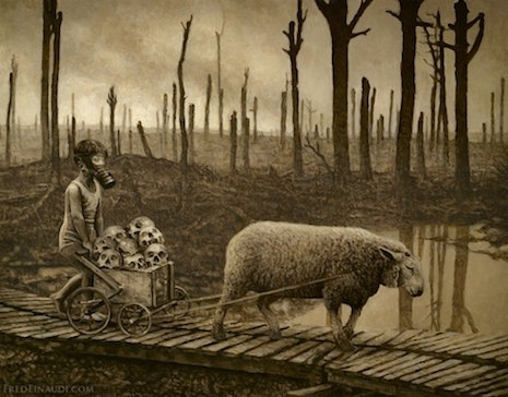 Photos Extra Sheep and Cart ( httpsdangerousminds.netcommentsunsettling_paintings_capture_grim_post_apocalyptic_future ) sheepskullsgasmaskasldkjalsdkjf_465_364_int